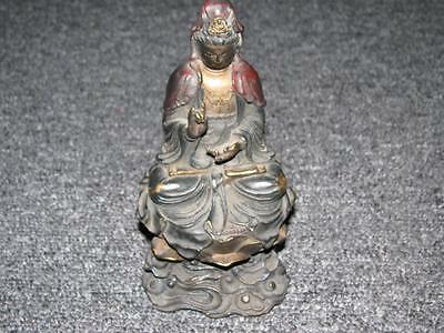 EARLY CHINESE 19cm 642g BRONZE BUDDHA SCULPTURE / GOLD and PAINTED