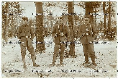German Soldiers with Gas Mask Containers, Smoking, WW1, Original Photo Card