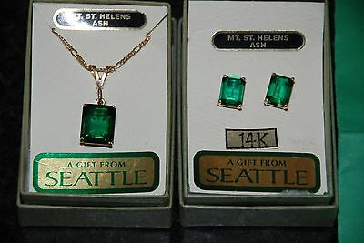 14ct (585) Yellow gold Emerald earrings & MATCHING pendant with 14ct gold chain