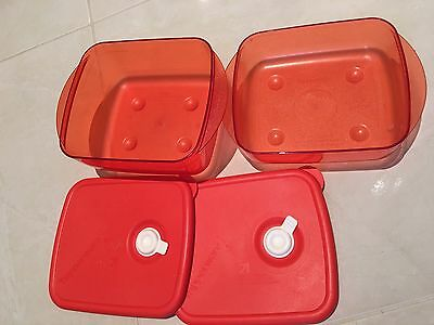 Tupperware Heat And Eat Set Of 2, 1 L And 600ml RED