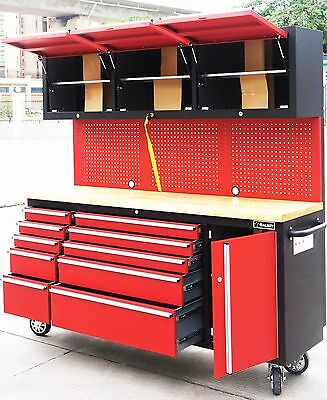 1.8m Red Black Tool Chest Tool Trolley Garage Workbench Storage Cabinet Pegboard