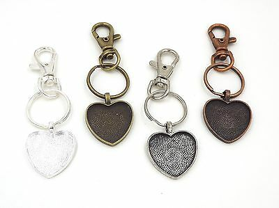 1 inch heart pendant trays key chains in your choice of color