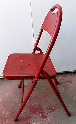 Folding chair Vintage iron metal 70's Red cm 84hx40 BAR original