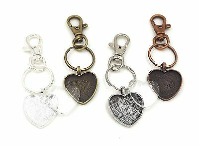 1 inch heart pendant trays key chains with glass domes in your choice of color