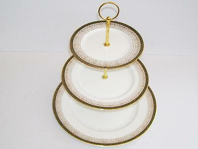"Royal Grafton ""Majestic Green"" Bone China Large 3 Tier Cake/Afternoon Tea Stand."
