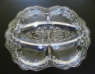 "Cambridge ""portia""  5-Part Divided 12""  Relish Dish Elegant Depression Glass"