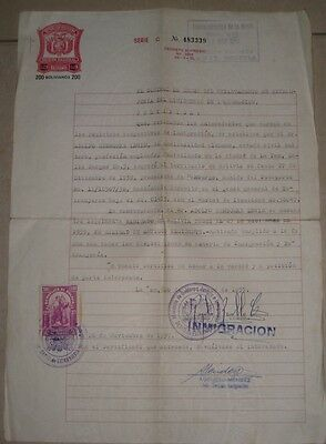 Judaica Bolivia Old Immigrant Document Jewish Lewin with Revenue Mark 1957