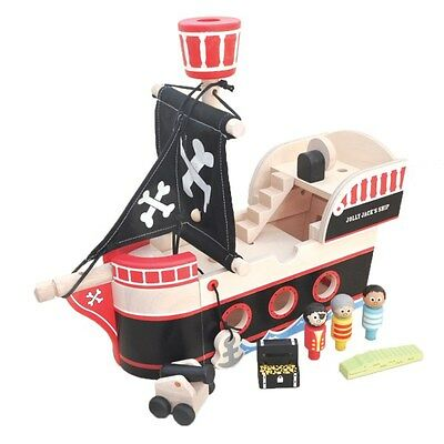 NEW Toy Jolly Jack's Wooden Pirate Ship Pirates cannon