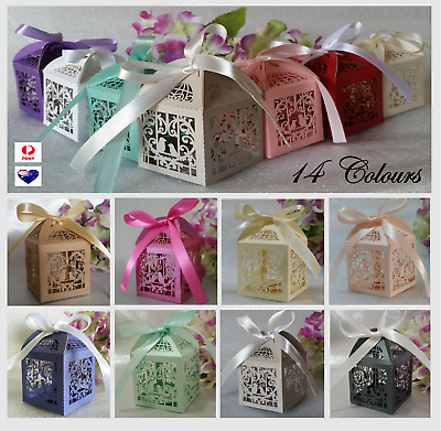 10/25/50/100/200 Laser Cut Favor Boxes Bomboniere Candy Love Heart Wedding Gift