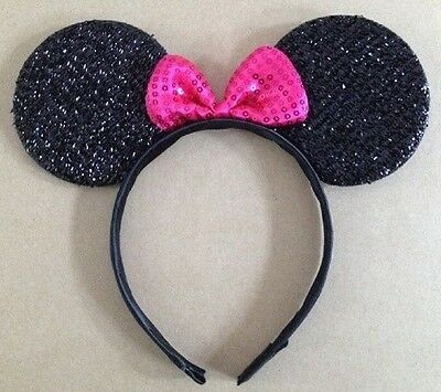 NEW Pink Glitter Minnie Mouse Ear Headband Fancy Dress Costume Party