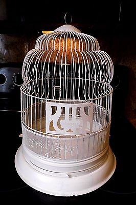 """Vintage Hendryx Metal Dome Top Bird Cage White 17 1/2"""" Tall"""