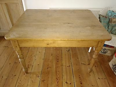 Original Victorian Pine Dining Table with Two Drawers