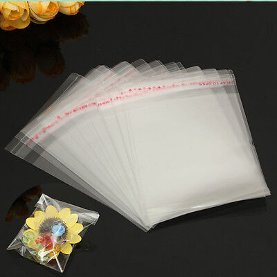 1x 100pcs 9*13cm Self Adhesive Plastic Bag Clear Jewelry Packaging