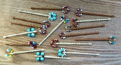 16 x Contemporary Plastic Beaded / Decorated Bobbins / Lace Weaving