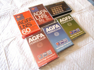 CASSETTE TAPES BLANK SEALED - LOT 6x AGFA LNS + FERROCOLOR + PHILIPS CHROMIUM