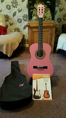 3/4 pink guitar with bag & stand - taunton