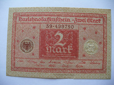Billete alemán antiguo, old german banknote, 2 mark, 1920, P-59, SC, UNC .