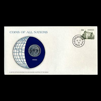 Sweden 1 Krona 1978 Fdc ─ Coins Of All Nations Uncirculated Stamp Cover