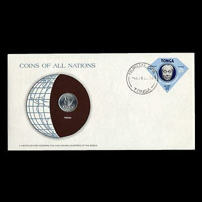 Tonga 5 Seniti 1977 Fdc ─ Coins Of All Nations Uncirculated Stamp Cover