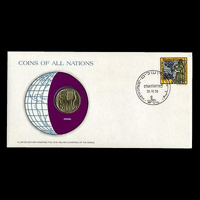 Israel 25 Agorot 1978 Fdc ─ Coins Of All Nations Uncirculated Stamp Cover