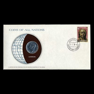 Luxembourg 10 10F Franc 1977 Fdc ─ Coins Of All Nations Uncirculated Stamp Cover