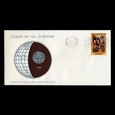 Iraq 5 Fils Fdc ─ Coins Of All Nations Uncirculated Stamp Cover
