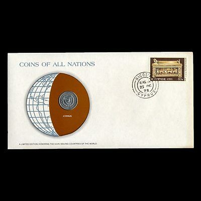 Cyprus 25 Mil 1977 Fdc ─ Coins Of All Nations Uncirculated Stamp Cover