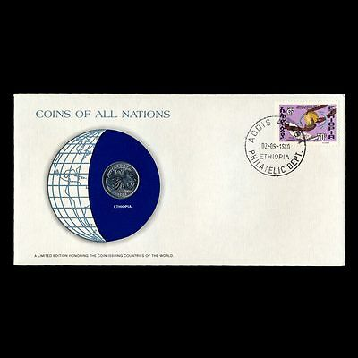 Ethiopia 25 Cents 1977 Fdc ─ Coins Of All Nations Uncirculated Stamp Cover