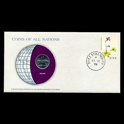 Ireland 5P 5 Pence 1976 Fdc ─ Coins Of All Nations Uncirculated Stamp Cover