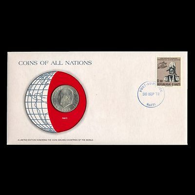 Haiti 50 Cents 1975 Fdc ─ Coins Of All Nations Uncirculated Stamp Cover