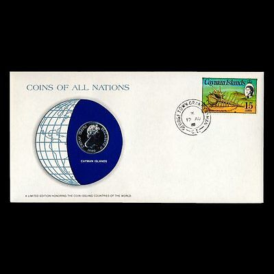 Cayman Islands 25 Cents 1980 Fdc ─ Coins Of All Nations Uncirculated Stamp Cover