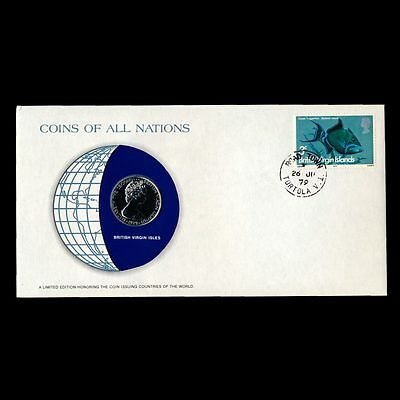 British Virgin Islands 25 Cents 1979 Fdc Coins Of All Nations Uncirculated Cover