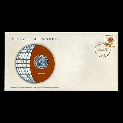 Singapore 1977 20 Cents Fdc ─ Coins Of All Nations Uncirculated Stamp Cover Unc