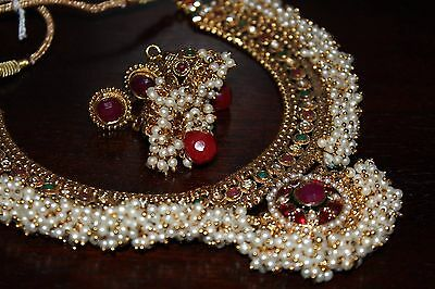 Bollywood Style Ethnic Indian Gold Pearl Jewellery Necklace Earrings 106 REDUCED