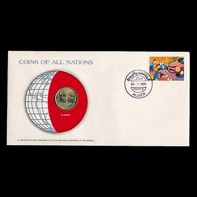 Algeria 50 Cents 1978 Fdc ─ Coins Of All Nations Uncirculated Stamp Cover