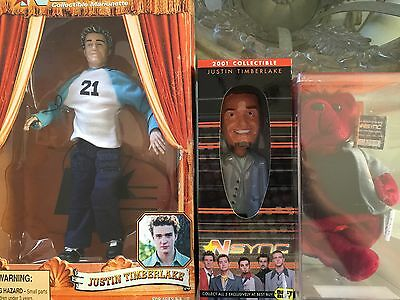 *NSYNC Justin Timberlake Collector Doll Lot Of 3 Marionette Bobblehead Bear