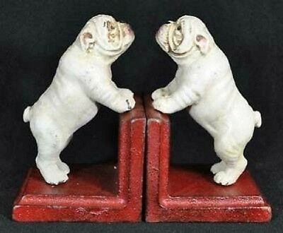 White Bulldog Bookends One Set Cast Iron Cabin Lodge Man Cave Home Garage Decor