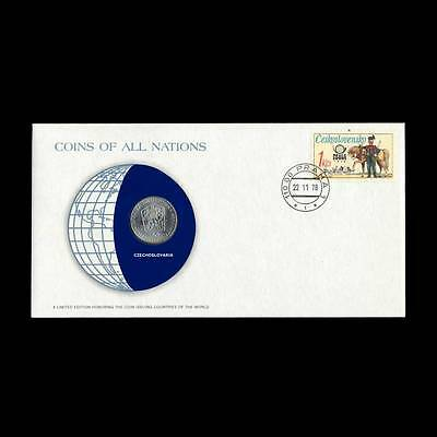 Czechoslovakia 2 Koruny 1974 Fdc Coins Of All Nations Uncirculated Stamp Cover