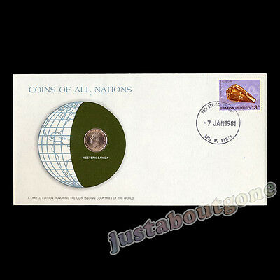 Western Samoa 1 Sene 1974 Fdc Coins Of All Nations Uncirculated Stamp 1981 Cover