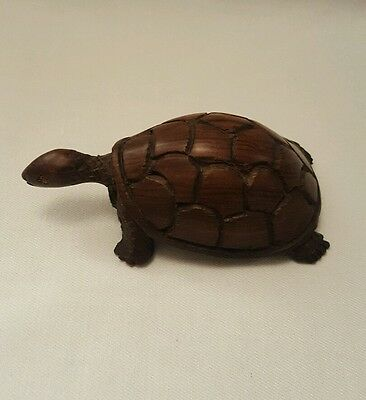 Vintage Hand Carved Hard Wood Tortoise