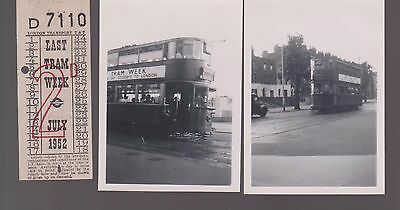 2 Photos And 1 Ticket For Last Tram Week July 1952