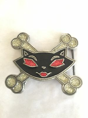 Sexy Kitty Cat Black And Bling Rockabilly Rockabella Belt Buckle