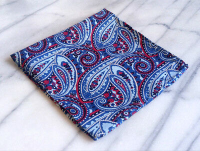 Hand Rolled 100% Silk Blue and Red Paisley Pocket Square, Mens Pocket Square