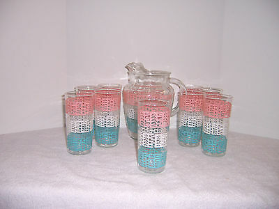 Vintage Glass Ice Tea Set - Pitcher and 9 Tumblers