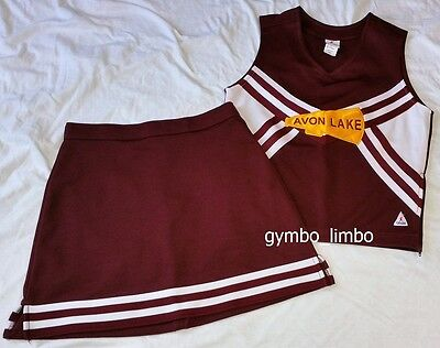 Chasse Cheerleading Adult XS 4 Two Piece Uniform Maroon White Outfit