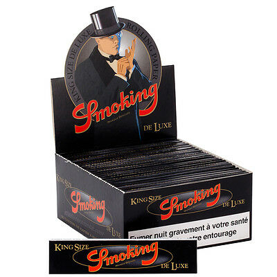 Smoking King Size Deluxe Slim Boite 50 Carnets x 33 Feuilles à Rouler 108 x 44mm