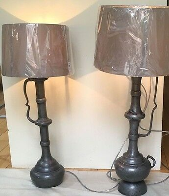 Two pewter flasks converted to stylish table lights