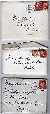 1870's QUEEN VICTORIA  PERFORATATED STAMPS ON THREE ENVELOPES & LETTERS