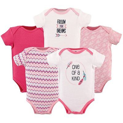 Hudson Baby - Baby Girls Pink 5 Pack One of a Kind Bodysuits Multiple Designs