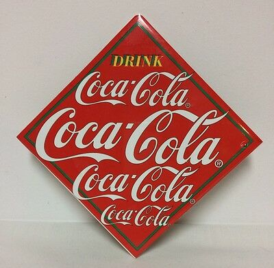 Coca Cola Plaque Wall Hanging  Vtg 1995 Red Background White Letters Enesco Tile